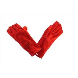 Luva de soldador em crute vermelho com costuras cobertas